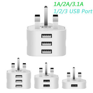 USB Mains Charger Adapter UK 3Pin Wall Plug for Samsung/iPhone/HTC/Tablets/etc