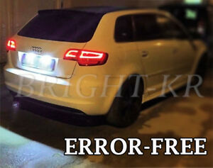 AUDI A3 8P 8PA ERROR FREE NUMBER PLATE LED LIGHT BULBS- COOL WHITE UPGRADE