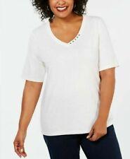 Karen Scott Plus Size 1X,3X Shirt Woman Cotton Button-Trim V-Neck Blouse Top NEW