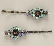 Revlon Couture Hair Pins Flower Rhinestones Yellow Prism