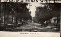 Kankakee IL Indiana Ave c1910 Postcard