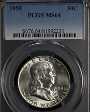 "Nice Original Uncirculated 1959 Franklin Half ""Bugs Bunny"" Variety PCGS MS64!"