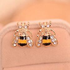 Cute Women Lady Girl 2016 Trendy Golden Small Bee Crystal Stud Earrings Jewelry