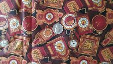 """Rose & Hubble Cotton Fabric MILLENNIUM TIME on Brown w/ Gold Glitter 45""""W x 1YRD"""