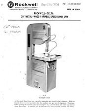 """Delta Rockwell - 20"""" Metal-Wood Variable Speed Bandsaw Instructions"""