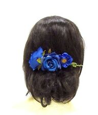 Royal Blue Rose Flower Hair Comb Bridesmaid Clip Floral Leaf Wedding Bridal 3036
