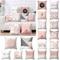 Rose Gold Geometric Print Pillow Case Cushion Cover Sofa Car Waist Throw Decor