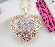 Betsey Johnson Necklace Crystal Gold Crystal Heart ❤️ Sparkles 300