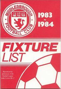 MIDDLESBROUGH FIXTURE CARD LIST 1983/84