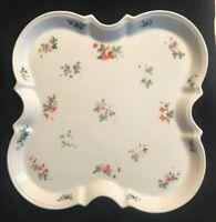 China Square Platter Floral Rose Plate Pink Orange Green Violet Vintage Heavy