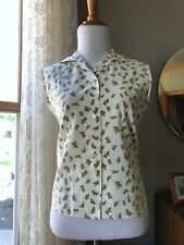 50s Shirt Butterflies Novelty Print Cotton Vintage 1950s Sleeveless Blouse Top