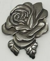 Vintage 1988 Seagull Pewter Canada Rose Flower Lapel Pin Brooche Jewelry Rare