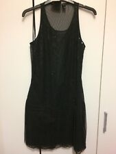Mango UK 10 Black Beaded Flapper Shift Dress Occasion Party