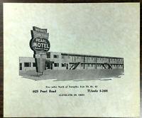 1950's Original Menu Little Ted's PEARL MOTEL Restaurant Lounge Cleveland Ohio