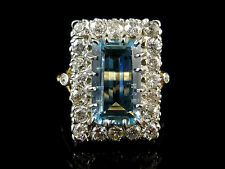 Aquamarine Yellow Gold Ring Art Deco Fine Jewellery