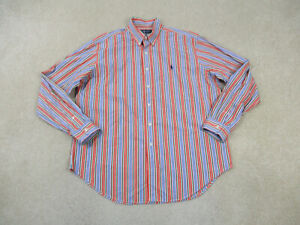 Ralph Lauren Polo Button Up Shirt Adult Extra Large Orange Green Casual Mens A49