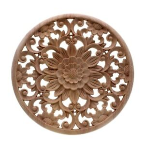 Carved Flower Carving Round Wood Appliques For Furniture Cabinet Unpainted X0X1