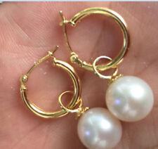 9-10mm perfect round white Australia south sea pearl dangle earring 14K Gold
