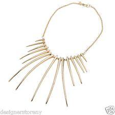 Kenneth Jay Lane polished gold spike necklace 9406NPG