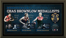 MELBOURNE SIGNED AFL OFFICIAL BROWNLOW LITHOGRAPH FRAMED AFLPA JIM STYNES MOORE