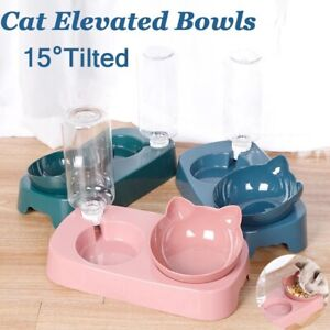 Automatic Pet Dog Bunny Cat Food Water Dispenser Dish Bowl Feeder Drinking