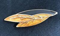 Vintage Trifari Black Golden Brown Enamel Leaf Large Goldtone Fall Pin Brooch