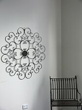 XXXL FRENCH WALL ART DECOR 1m diameter WROUGHT IRON MURAL  NEW black