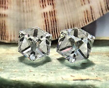 Crystal-Clear Stud Earrings, 10mm Slant Cube, Swarovski Rhinestones, 1 pair