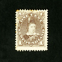 Newfoundland Stamps # 43 F-VF Hinged Few Toned Perfs Catalog Value $140.00