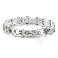 2.56 Ct Baguette & Round Diamond Engagement Eternity Band 14K White Gold Ring