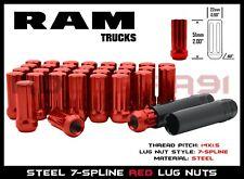 """2019-2020 RAM 1500 M14x1.5 Solid Steel Red 7-Spline Lug Nuts 2"""" Tall 24PC+2Key"""