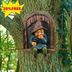 Naughty Garden Gnome Statue Elf aus der Tür Bäume Huggers Home Garden Decor