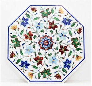"30"" Marble Coffee / Side Table Top Semi Precious Stones inlay Handmade work"