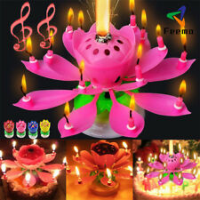 Musical Candle Blooming Lotus Flower Rotating Candles Light Happy Birthday Party