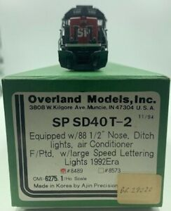 OVERLAND MODELS HO BRASS SP SD40T-2 #8489 w/LARGE SPEED LETTERING 11/94