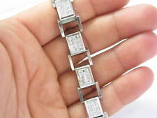 Mens Princess Cut Invisible Setting Diamond Bracelet White Gold 14KT 8.40CT