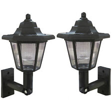 NEW 2 X BLACK ELEGANT WALL MOUNT OUTDOOR SOLAR POWER LANTERN LAMP LIGHT