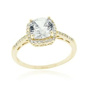 18K Gold over 925 Silver CZ Square Bridal Engagement Ring