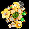 NATURAL 6X4MM CHROME DIOPSIDE & WELO OPAL MOP YELLOW GOLD SILVER 925 PENDANT