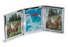 SILVER PLATED TRIPLE PHOTO FRAME Home Travel Photograph Gift 33% OFF ENGRAVED