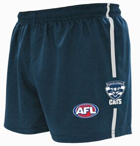 """AFL GEELONG CATS """"NEW DESIGN"""" KIDS FOOTY SHORTS - BRAND NEW"""