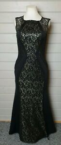 Lipsy Michelle Keegan Black Gold Lace Sequin Dress 14 Prom Ball Cocktail Evening