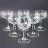 6 Eier Likörgläser Set Kristall Wein Traube Schliff Fuß Kelche Schnaps Art Deco
