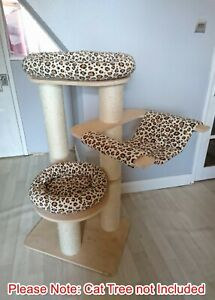 Handmade CHEETAH BEIGE Cat Bed Replacement Set for Natural Paradise Cat Tree L