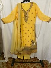 Indian Party wear Yellow Georgette  Long Kaamiz, Salwar & Dupatta.Size-44""