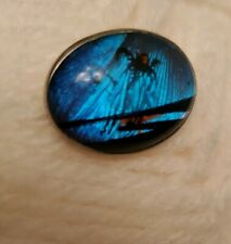 Antique Iridescent Blue Butterfly Wing Pin, Brooch