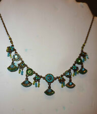 Fox Style Artisan Turquoise and Green Mosaic Necklace & Earrings, Crystals ,
