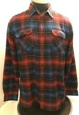 Analog Medium Blue Red Plaid Long Sleeve Button Front Shirt Front Pockets