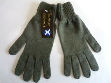 Scottish 100% 4 ply cashmere knitted warm soft finger gloves Mens Lovat Green