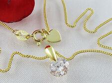 Collier Solitär Anhänger mit Kette 925 Sterling Silber Gold Vergoldet Zirkonia